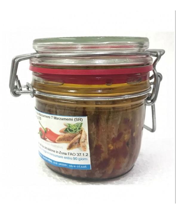 Filetti di acciughe con Peperoncino Rosso